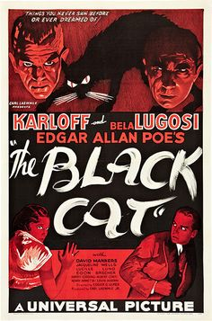 "The second appearance of Karloff/Lugosi horror The Black Cat from 1934. This is the ""Style B"" – perhaps less dramatic than the ""Style D"" – but it sold for significantly more: $334,600 in 2009"