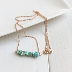 Rare Sleeping Beauty turquoise chips. Rose gold plated necklace. Delicate. Dainty. Gorgeous.