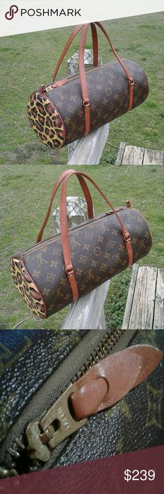 Vintage Louis Vuitton Papillon French Co. This is made by the French Co.  and does not have a date code however is 100% authentic. Please research on Google French Co Louis Vuitton information. This has been painted on sides and leather with leather paint and sealer. Had normal wear when I restored so if looking for new this will not be for you.  Size 12X6 inches Louis Vuitton Bags Shoulder Bags