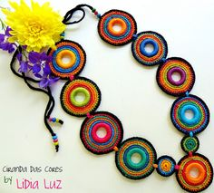 Ciranda das cores, colar de crochê by Lidia Luz, via Flickr