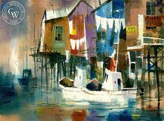 Jack Laycox - Wharf Washday - California art - fine art print for sale, giclee watercolor print - Californiawatercolor.com