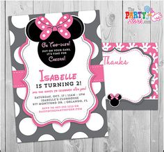 17 best minnie mouse birthday invitations images on pinterest in minnie mouse invitation oh twodles invitation 2nd birthday minnie mouse invitation free thank you card printable grey pink black filmwisefo