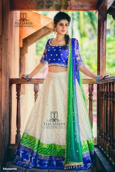 Simplicity is the key note of all True Elegance !!Here is new collection of Half sarees from Team Teja .Thank you Varshini Sounderajan and Fotosaints  !!!TS 2H9-206- JUN Available For orders/queriesCall/whats app  on8341382382 orMail  tejasarees@yahoo.com  15 June 2017 Half Saree Designs, Lehenga Designs, Saree Blouse Designs, Half Saree Lehenga, Anarkali Dress, Lehenga Blouse, Bridal Lehenga, Indian Dresses, Indian Outfits