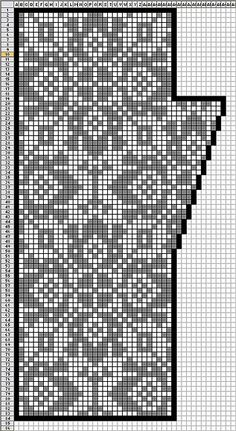 Fair Isle knitting chart - could be use for filet crochet or cross stitch Punto Fair Isle, Motif Fair Isle, Fair Isle Chart, Fair Isle Pattern, Filet Crochet, Crochet Mittens, Mittens Pattern, Crochet Granny, Fair Isle Knitting Patterns