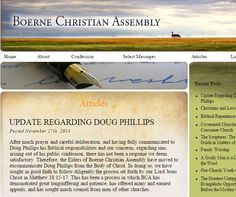 *** The elders at Boerne Christian Assembly have officially and publicly announced that Doug Phillips isnow excommunicated from the church he founded. ***     &nbsp...