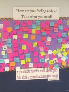 This is really popular at my high school. The board is constantly having to be refilled with more notes. - Imgur