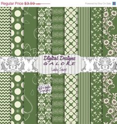 50% OFF SALE Lady Sage Digital Paper Pack by DigitalDesignsGalore, $2.00  Now through 3/31/13 ALL DIGITAL PAPER PACKS .....hurry!