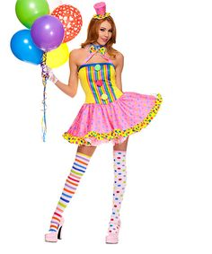 Yellow & Pink Clown Costume Set - Plus Too
