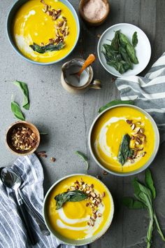 Butternut Squash, Coconut & Turmeric Soup + Crispy Sage // The Green Life
