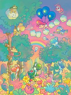 Official artwork for Yoshi's Touch and Go. Released in 2005 for Nintendo DS.