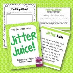First Day Jitters Read Aloud Activity - Jitter Juice - First Day of School! Preschool First Day, Beginning Of Kindergarten, Teaching First Grade, First Grade Reading, Preschool Books, Beginning Of The School Year, Student Teaching, Starting School, First Day Jitters