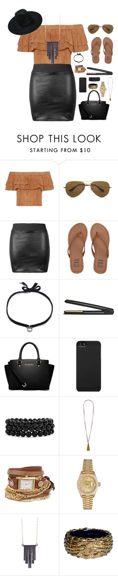 """""""Sans titre #96"""" by barbaradeveci ❤ liked on Polyvore featuring beauty, Ray-Ban, Billabong, DANNIJO, GHD, MICHAEL Michael Kors, Killstar, Incase, Bling Jewelry and French Connection"""