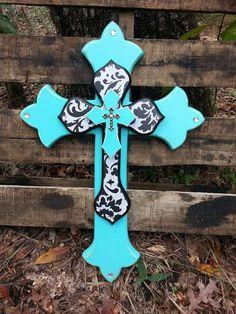 Black Damask & Bahama Blue Triple Stack Wall by DreamLoudCreations Wooden Crosses, Crosses Decor, Wall Crosses, Painted Crosses, Shabby Chic Wall Decor, Rustic Decor, Cross Door Hangers, Cross Love, Blue Cross