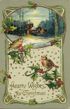 compsition.............hearty wishes for christmas card. love the little house and tiny birds!