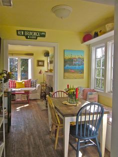 Cute vintage style interiors and beautiful seascape paintings.