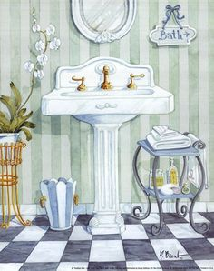 Pedistal Sink - mini by Paul Brent art print