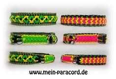 """Sommerlich & bunt : Paracord Halsband """"Crowntrail"""" und """"Majestic"""" in super knalligen Farben. www.mein-paracord.de"""