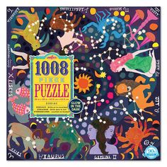 Enjoy the 1008 pc puzzle challenge as you assemble all 12 signs and constellations in this eeBoo cosmic Zodiac glow-in-the-dark puzzle.
