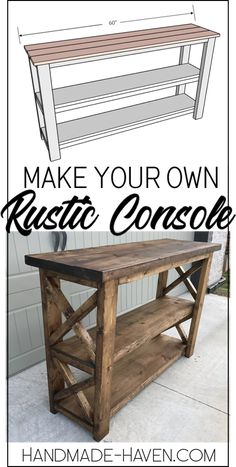 diy furniture A X console table for the books. This rustic X console table is definitely a show stopper! Check out the free DIY plans below to re-create your own rustic X Console Table f Wood Pallet Furniture, Diy Furniture Projects, Diy Furniture Plans, Woodworking Projects Diy, Rustic Furniture, Furniture Makeover, Furniture Design, Coaster Furniture, Woodworking Classes