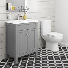 Traditional Bathroom Furniture Storage Vanity Unit with Basin & Toilet Basin Vanity Unit, Vanity Sink, Basin Sink, Traditional Bathroom Furniture, Grey Toilet, Toilet Art, Small Toilet, Toilet Room, Bathroom Vanity Storage