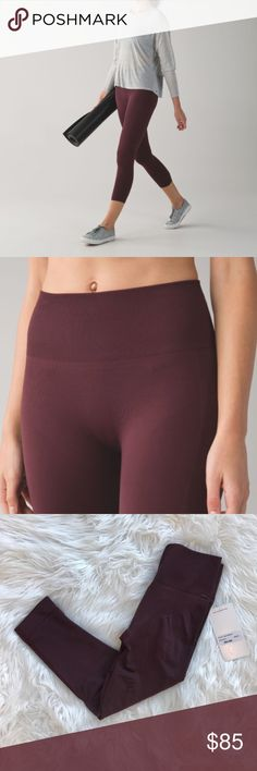 💗NWT💗Lululemon zone in tight legging Just bought off posh and they're too small. In perf condition NWT Bordeaux color lululemon athletica Pants Leggings