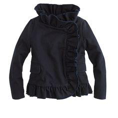 Girls' chino ruffle jacket - chino & cotton - Girls' jackets & outerwear - J.Crew