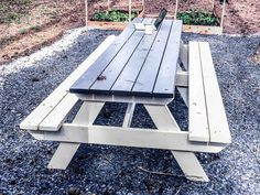 How to DIY Finish an Outdoor Picnic Table by MyOutdoorPlans - Building Our Rez tables makeover How to DIY Finish an Outdoor Picnic Table by MyOutdoorPlans - Building Our Rez Painted Picnic Tables, Wooden Outdoor Table, Wooden Table And Chairs, Outdoor Tables And Chairs, Patio Table, Painting Outdoor Wood Furniture, Pallet Garden Furniture, Furniture Ideas, Outdoor Furniture