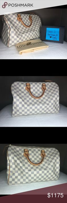 Louis Vuitton Speedy 35 Damier Azur From 2010  Gorgeous patina. No stains.  Perfect spring print. Currently out of stock on LV site. Louis Vuitton Bags