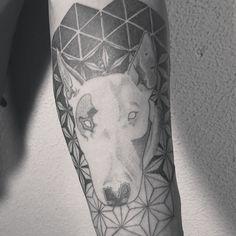 2°  #criarttattoo #blackwork #mandala #geometric #bullterrier #lines #drawing #tattoo #gunsnroses