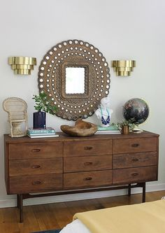 sideboard styling with rustic and global touches