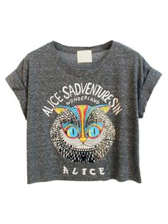 Shop Gray Owl and Letter Print Crop Tee from choies.com .Free shipping Worldwide.$7.11