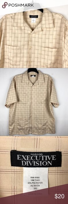 """Haband Executive Division Cuban Style Shirt Mens L Brand: Haband Executive Division   Detail: This is a Men's Haband Executive Division Men's Cuban Style Button Down Shirt. Features Very Soft Lightweight Fabric & Four Cigar Pockets.  Condition: This item is in Great Pre-Owned Condition! No Major Flaws (No Stains, Rips or Tears).   Material: 96% Polyester 4% Rayon Care: Machine Washable  Size: Large Measurements: Chest: 25"""" Length: 29"""" Shoulder: 20.5"""" Sleeve: 10.5"""" 💥Top Rated Seller…"""