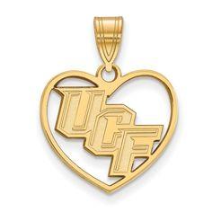 Sterling Silver w/GP LogoArt University of Central Florida Pendant in Heart