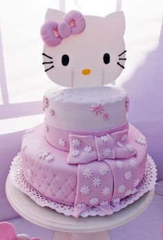 Pretty pink Hello Kitty birthday party cake! See more party ideas at CatchMyParty.com!