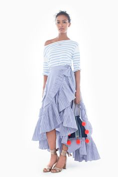 Same cool skirt in striped shirting. J.Crew women's spring/summer 2017 collection.