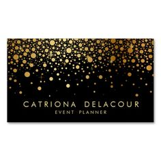 Faux Gold Foil Confetti Business Card | Black