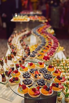 Wedding Food - [tps_header][/tps_header] Wedding Catering Trends: Top 8 Wedding Dessert Bar Ideas One of the hottest trends right now – small personalized desserts! Don't order a cake, just go for a huge variety of mini desserts s. Mini Desserts, Colorful Desserts, Wedding Desserts, Wedding Appetizers, Wedding Cakes, Fruit Appetizers, Wedding Foods, Wedding Dessert Buffet, Fruit Display Wedding
