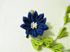 Tsumami Kanzashi flower brooch and hair clip  Kimono Japanese Chirimen - chrysanthemum (blue) by chirimenbunny on Etsy