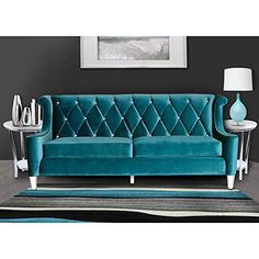 Armen Living Barrister Sofa In Blue Velvet With Crystal Buttons Tufted Sofa, Sofa Upholstery, Settee, Furniture Styles, Sofa Furniture, Furniture Ideas, Luxury Furniture, Living Room Sofa, Living Room Furniture