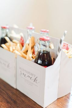 Midnight snack boxes for party. Movie party. To go baskets for guests