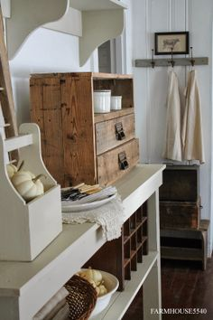 natural wood cubby