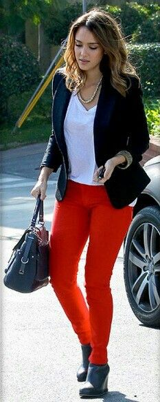 Red jeans #black blazer #black ankle boots  ... outfit