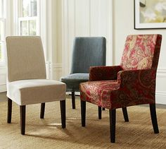 Great Room: Napa Chair & Slipcovers (for dining room table) - like the idea of slipcovers for easy cleaning and ability to update style)