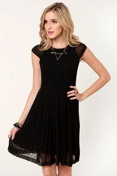 Fancy Black Dress - Pleated Dress - Cap Sleeve Dress - $55.00