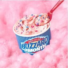 cotton candy blizzard at dairy queen! The world should start a petition to BRING THESE BACK!!!