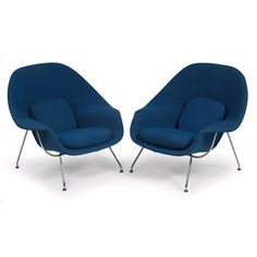 Eero Saarinen Womb chairs, pair, by Knoll, 1975