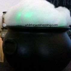 Super simple glowing cauldron that will complete your witchy set up this Halloween.  Less than $10.