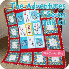 Free pattern for Cat in the Hat quilt. Love the border of red and ... : dr seuss quilt kit - Adamdwight.com