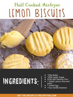 Airfryer Recipes | half cooked airfryer lemon biscuits