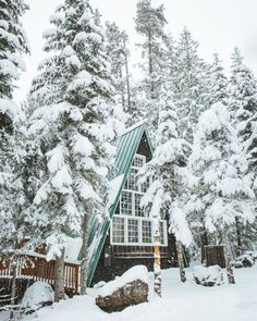 Cabin in the winter Snow ⛄️ Bella Montreal ⛄️ Insta: bella. A Frame Cabin, A Frame House, Winter Cabin, Cozy Winter, Winter Snow, Cozy Cabin, Cabins In The Woods, Winter Scenes, Winter Time